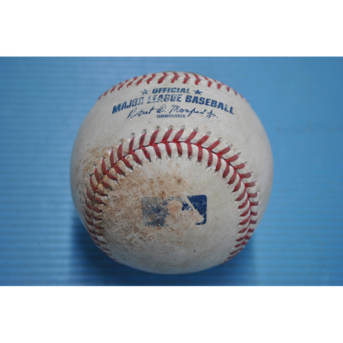 Photo of Game-Used Baseball - 2020 ALCS - Houston Astros vs. Tampa Bay Rays - Game 2 - Pitcher - Lance McCullers, Batter - Ji-Man Choi (Reaches on Error) - Bot 1