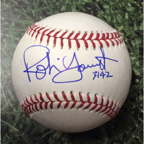 "Photo of Robin Yount Autographed Baseball - ""3142"" Inscription (Career Hit Total)"