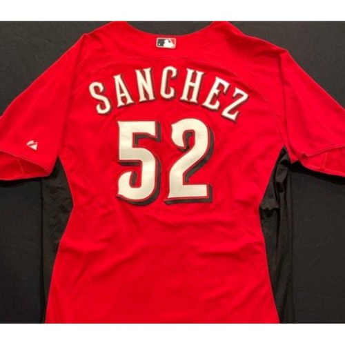 SANCHEZ-52 -- Authentic Reds Jersey -- $1 Jersey Auction -- $5 Shipping -- Size 46 (Not MLB Authenticated)