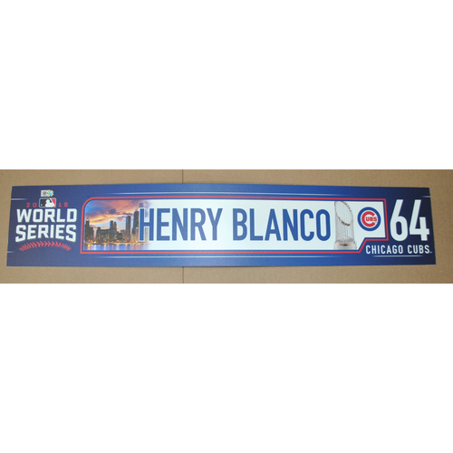 Photo of Game-Used Locker Name Plate - 2016 World Series Games 3, 4, 5 - Cleveland Indians vs. Chicago Cubs - Henry Blanco (Chicago Cubs)
