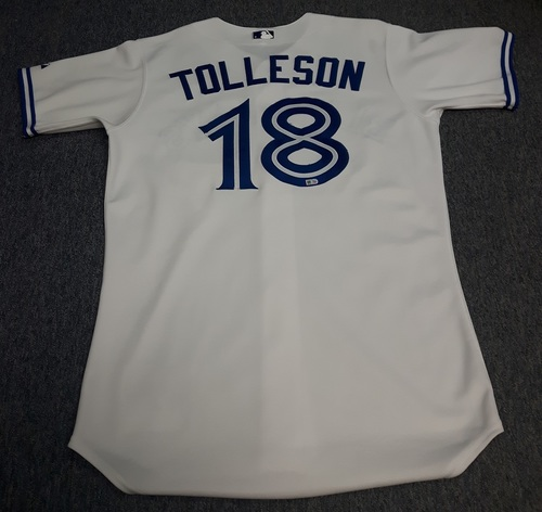 Photo of Authenticated Game Used Jersey - #18 Steve Tolleson (April 13, 2015 - Home Opener). Size 44.