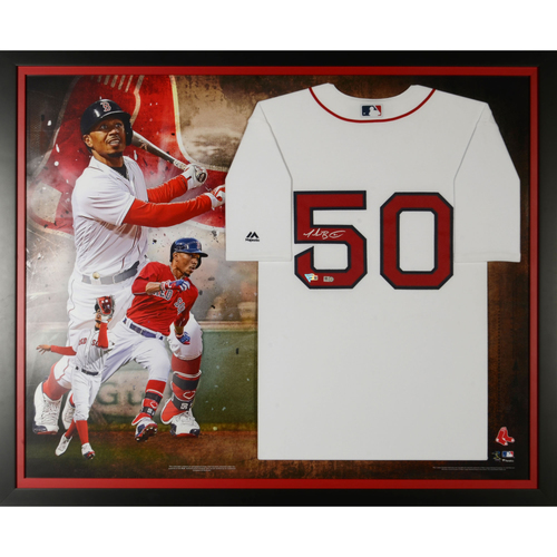 Photo of Mookie Betts Boston Red Sox Framed Autographed Majestic White Replica Jersey Collage