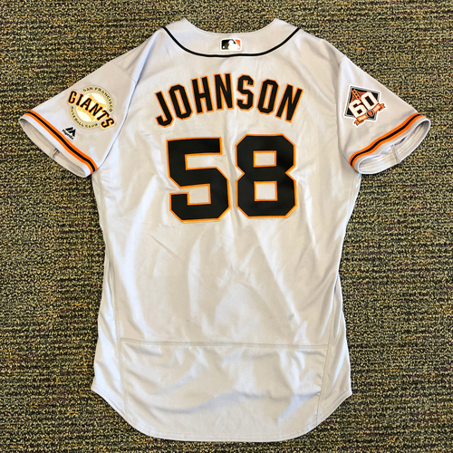 Photo of San Francisco Giants - 2018 Opening Day Game-Used Road Jersey - Worn by #58 Pierce Johnson on 3/29/2018 vs. the Los Angeles Dodgers - Jersey Size 46