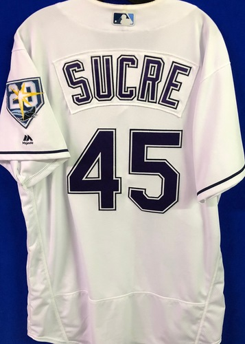 Photo of 20th Anniversary Game Used Devil Rays Jersey: Jesus Sucre - June 23 v NYY and September 8 v BAL