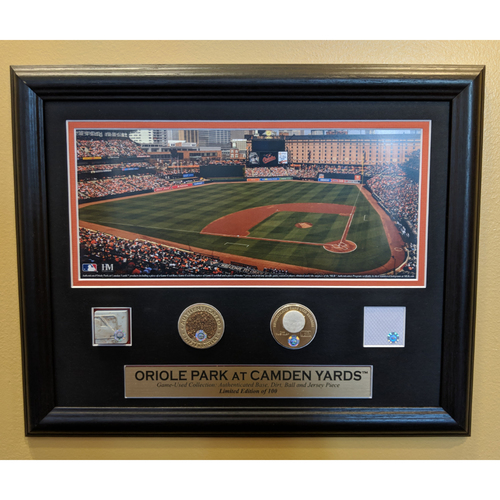 Photo of Oriole Park at Camden Yards Game-Used Collection Featuring a Piece of a Game-Used Base, Ball, Jersey, and Dirt Coin.