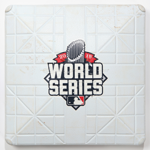 Photo of Game-Used Base: 2015 World Series Game 5 - Kansas City Royals at New York Mets - 1st Base used in Innings 3-4