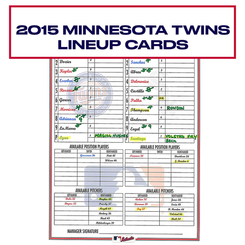 Photo of 2015 Minnesota Twins Game-Used Lineup Card - Choose your Game Date!