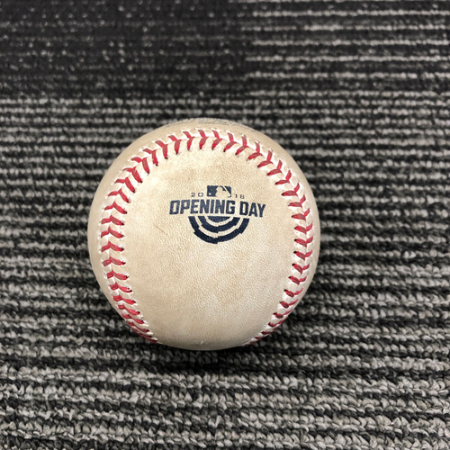 Photo of 2018 Game Used Opening Day Baseball used on 4/3 vs. Seattle Mariners - T-5: Ty Blach to Mitch Haniger - Foul Ball