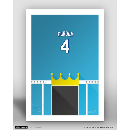 Photo of Minimalist Kauffman Stadium Alex Gordon Player Series Art Print by S. Preston - Limited Edition