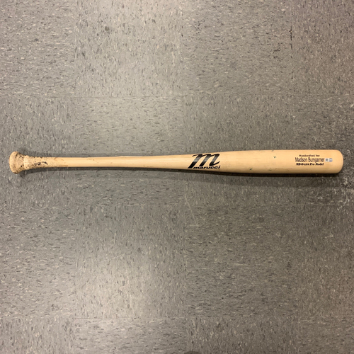 Photo of 2019 Game Used Broken Bat used by #40 Madison Bumgarner on 8/3 @ Colorado Rockies - T-2: Gray to Bumgarner - Foul Ball
