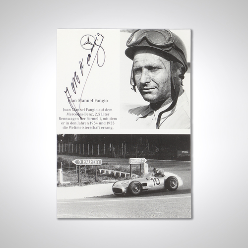 Photo of Juan Manuel Fangio 1955 Mercedes Signed Promotional Postcard