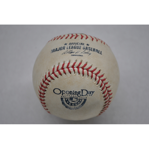 Photo of Game-Used Baseball - 4/2/13 - BAL at TB - Pitcher - Jamey Wright, Batter - Manny Machado, Pitch in Dirt, Top of 8 - Opening Day