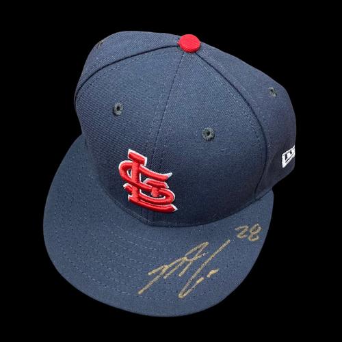 Photo of Nolan Arenado Autographed Team Issued Road Cap (Size 7 1/8)