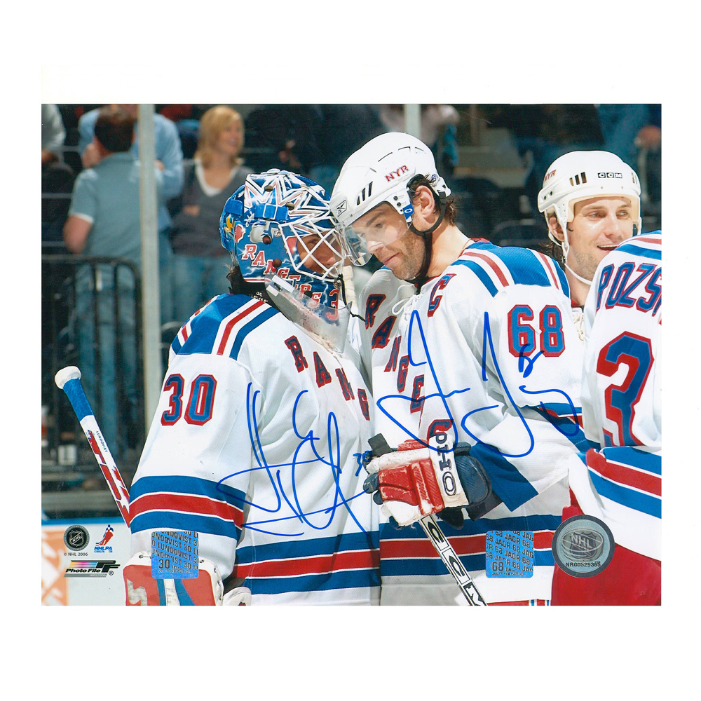 JAROMIR JAGR & HENRIK LUNDQVIST Signed New York Rangers 8 X 10 Photo - 70401