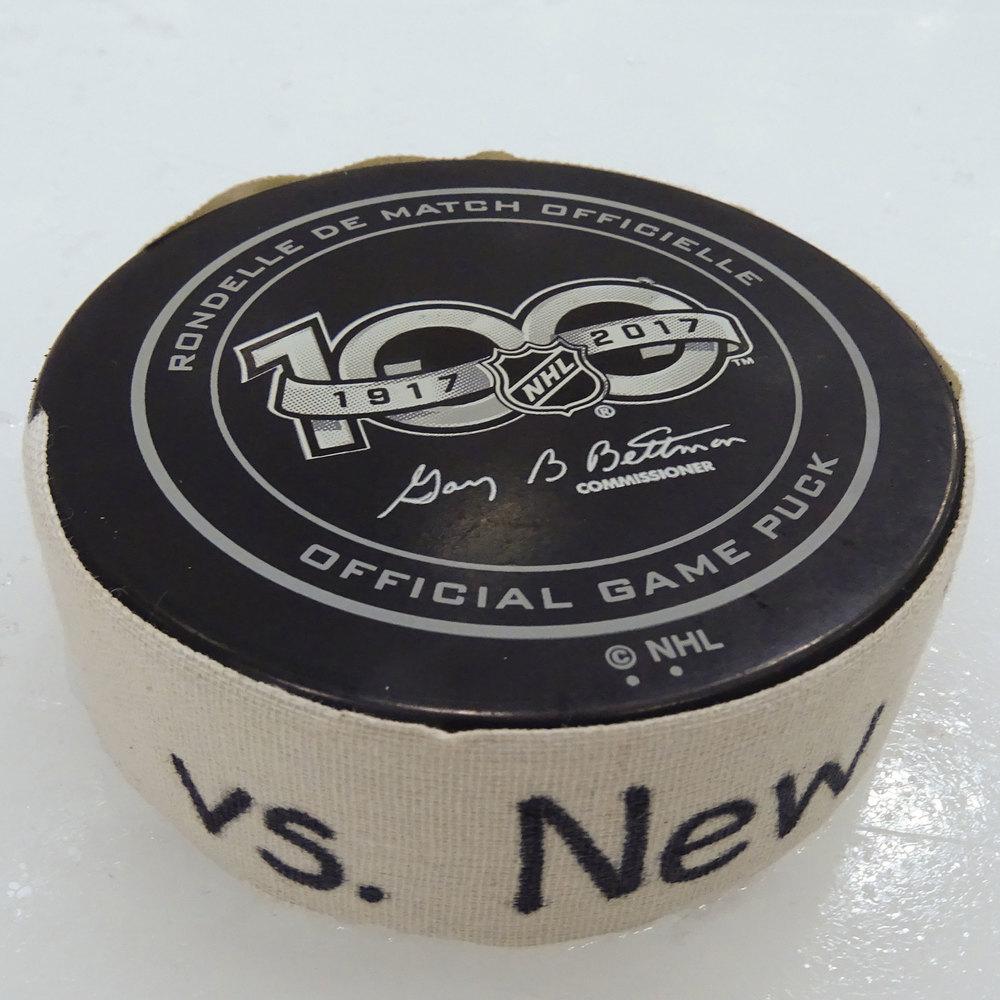 Mathew Barzal - Game Used Goal Puck - 2017-18 Season- New York Islanders
