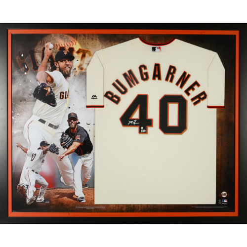 Photo of Madison Bumgarner San Francisco Giants Autographed Majestic Cream Replica Jersey Collage
