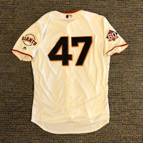 Photo of 2018 San Francisco Giants - 2018 Game Used Home Jersey worn by #47 Johnny Cueto - on 4/3/2018 & 4/4/2018 vs. Seattle Mariners - 6.0 IP, 1 K, 2 BB, 1 ER, WIN