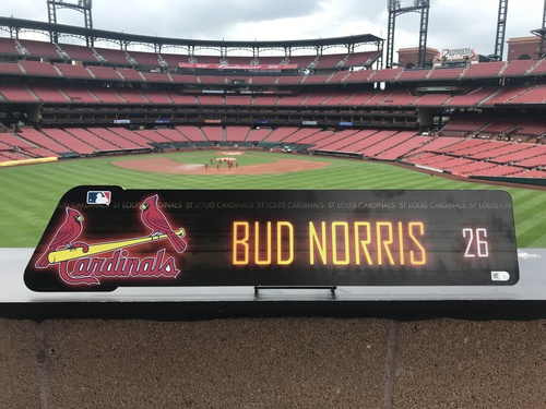 Cardinals Authentics: Bud Norris Locker Room Nameplate *10,000 Win*