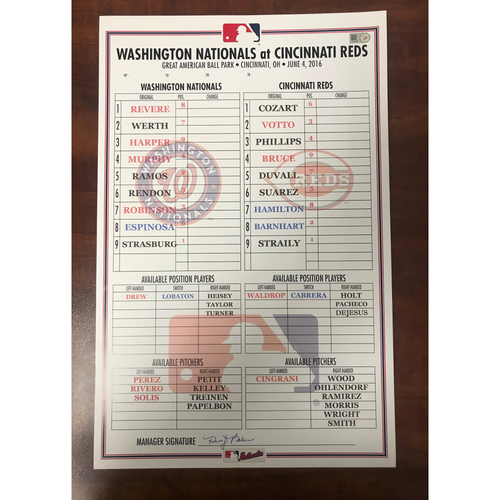Photo of Replica Lineup Card - Strasburg Becomes the First Nationals Pitcher with 1000 Career Strikeouts