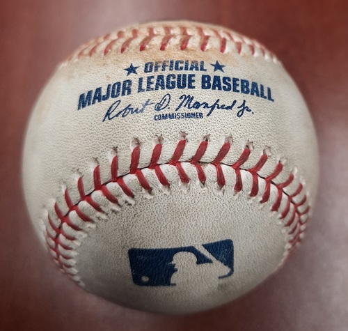 Photo of Authenticated Game Used Baseball - Single by Luis Rengifo against Clayton Richard (June 20, 2019 vs LAA). Top 5.
