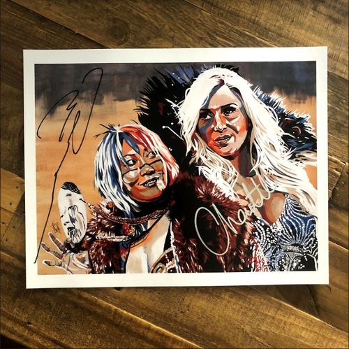 Photo of Charlotte Flair & Asuka SIGNED 11 x 14 Rob Schamberger Print