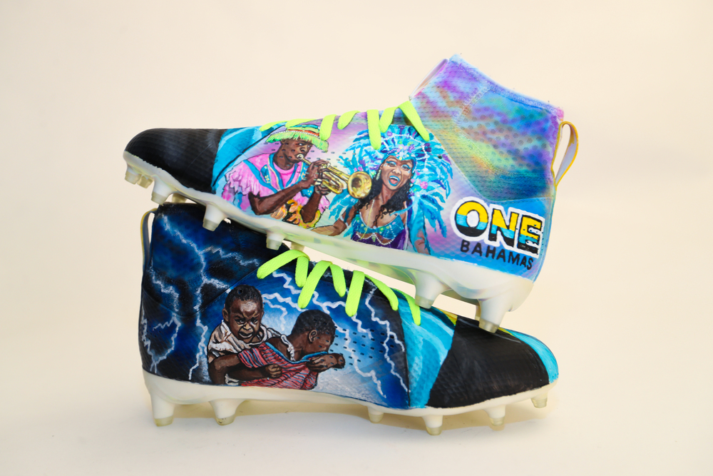 My Cause My Cleats -  Patriots James White signed custom cleats - supporting  One Bahamas Fund