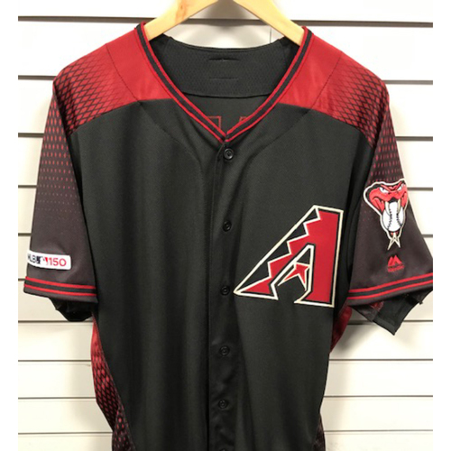 Photo of Ketel Marte 2019 Team-Issued Black Alternate Jersey, Size 46. Marte finished the 2019 season with a .329 batting average, slugging 32 HR's and 92 RBI's.