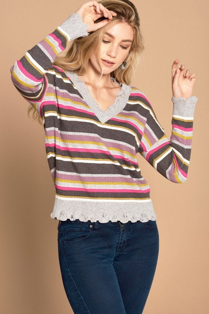 Photo of Serenity Multi-colored Variegated Striped Knit Sweater