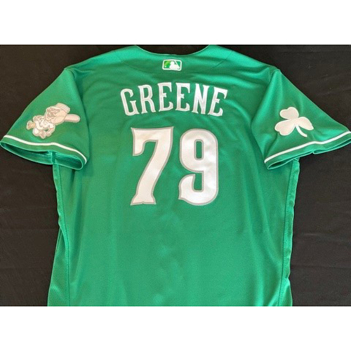 Photo of Hunter Greene -- Team-Issued Jersey -- 2021 St. Patrick's Day Game -- Size 46
