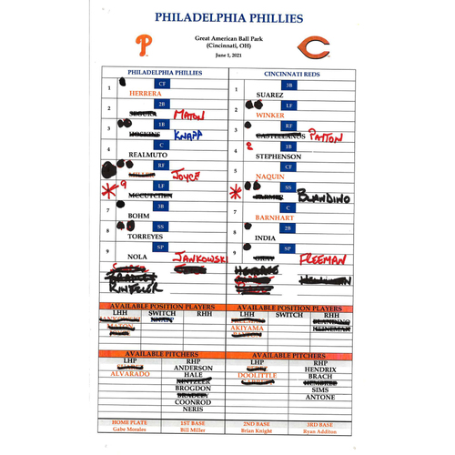 Photo of 2021 Phillies Game-Used Lineup Card (June 1, 2021) - Aaron Nola 1,000th Career Strike Out