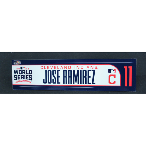 Photo of Game-Used Locker Name Plate - 2016 World Series Games 3, 4, 5 - Cleveland Indians vs. Chicago Cubs - Jose Ramirez (Cleveland Indians)
