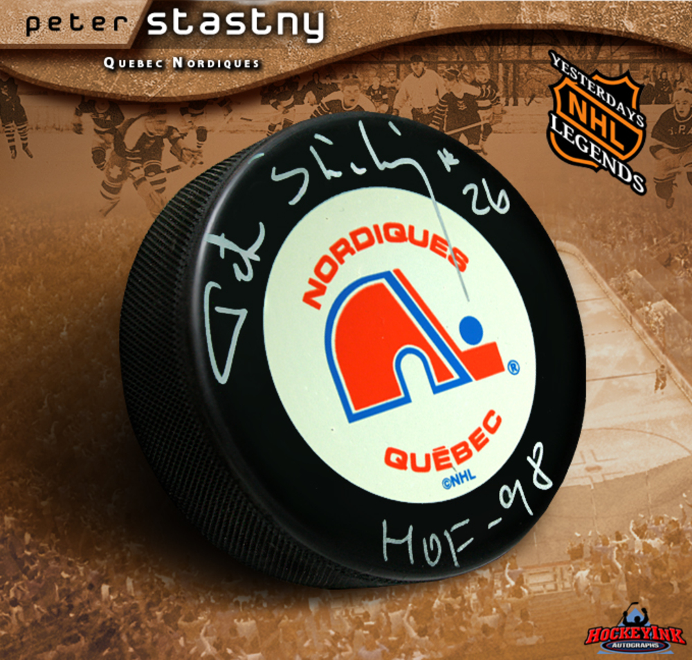 PETER STASTNY Signed Retro Quebec Nordiques Hockey Puck