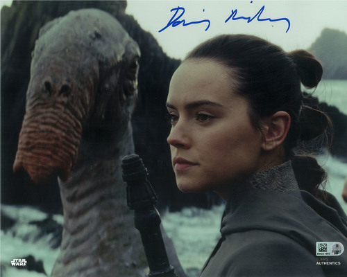 Daisy Ridley as Rey 8x10 Autographed in Blue Ink Photo