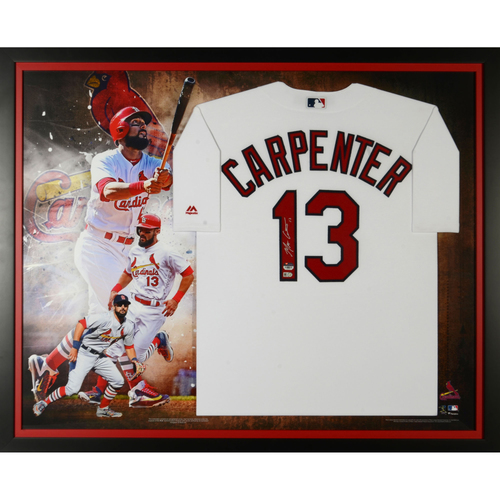 Photo of Matt Carpenter St. Louis Cardinals Framed Autographed Majestic White Replica Jersey Collage