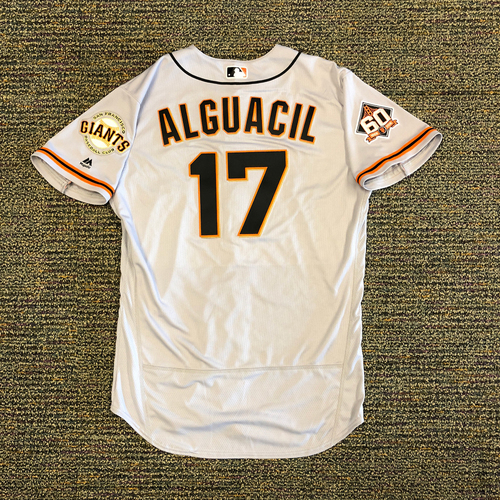 Photo of San Francisco Giants - 2018 Opening Day Game-Used Road Jersey - Worn by #17 Jose Alguacil on 3/29/2018 vs. the Los Angeles Dodgers - Jersey Size 46