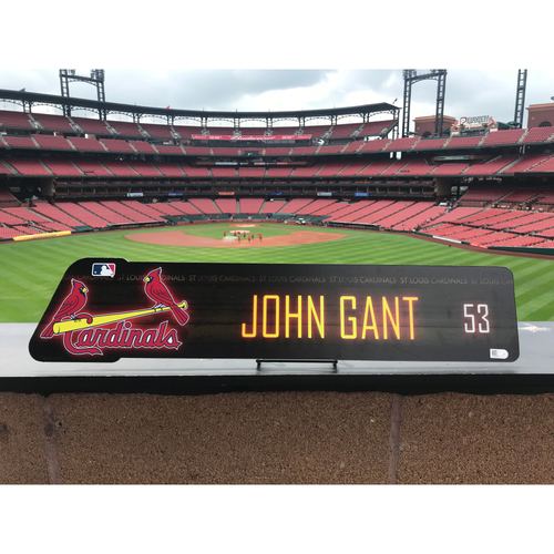 Photo of Cardinals Authentics: John Gant Locker Room Nameplate *10,000 Win*
