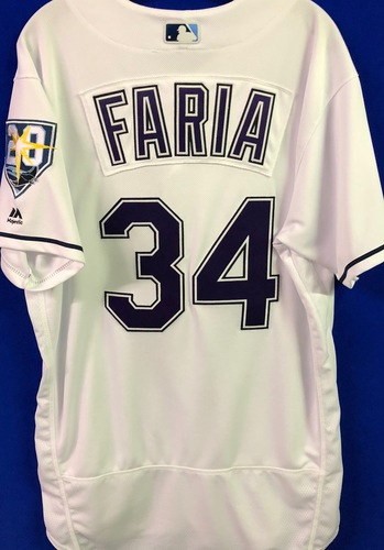 Photo of 20th Anniversary Game Used Devil Rays Jersey: Jake Faria - March 31 v BOS and September 8 v BAL