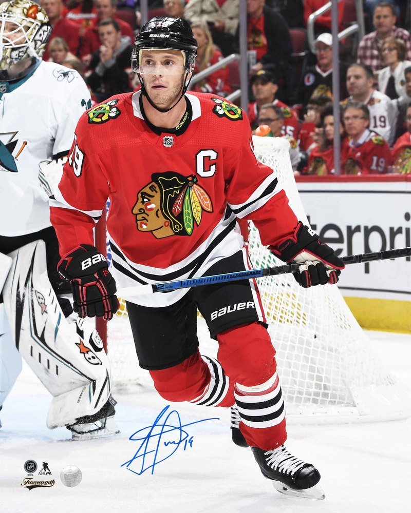 Jonathan Toews Signed 8x10 Unframed Blackhawks Red Action