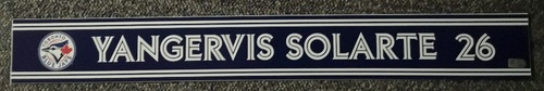 Photo of Authenticated Game Used Locker Name Plate - #26 Yangervis Solarte (Sept 24, 18: 2-for-4 with 1 RBI)