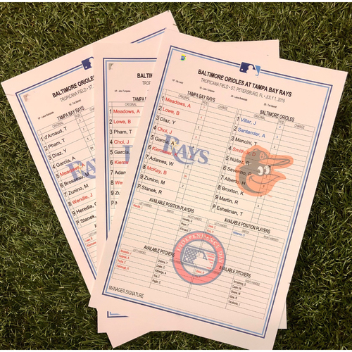 Photo of Replica Lineup Card Set: July 1-3, 2019 v BAL - Tom Eshelman MLB Debut