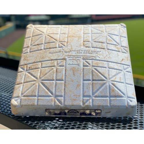 Photo of 2020 Colorado Rockies Game-Used Base - 1st base, innings 1-3 for 7 games - 23 Rockies Hits/ 27 Visiting Team Hits