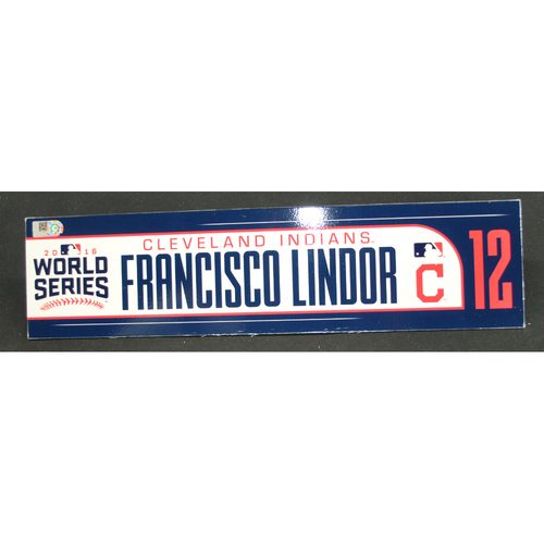Photo of Game-Used Locker Name Plate - 2016 World Series Games 3, 4, 5 - Cleveland Indians vs. Chicago Cubs - Francisco Lindor (Cleveland Indians)