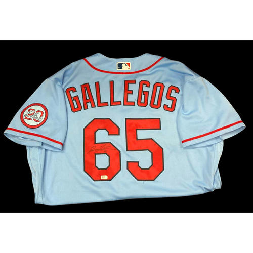 Photo of Giovanny Gallegos Autographed Team Issued Road Alternate Jersey w/ Lou Patch (Size 48)