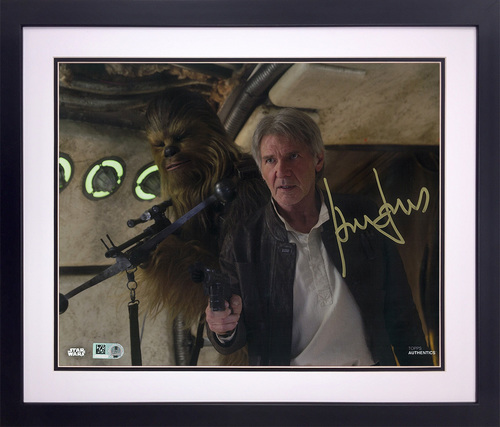 Harrison Ford as Han Solo 11x14 Autographed in Gold Ink Framed Photo