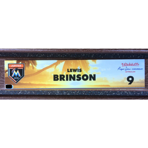 Photo of Lewis Brinson Game-Used Spring Training Locker Tag