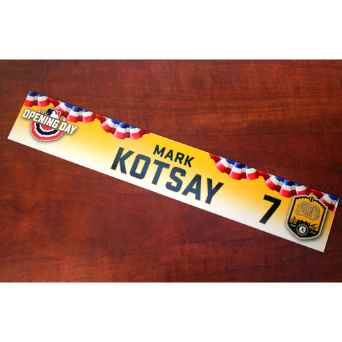 Photo of Mark Kotsay Team-Issued Opening Day 2018 Locker Nameplate