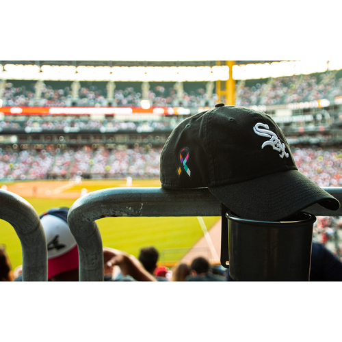 Photo of Cancer Ribbon Adjustable White Sox Cap - Orders placed on or after December 18 will be shipped on January 3, 2019