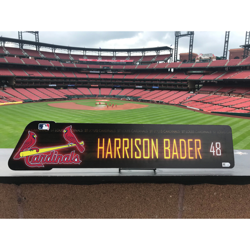 Cardinals Authentics: Harrison Bader Locker Room Nameplate *10,000 Win*