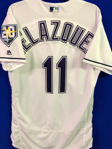 Photo of 20th Anniversary Game Used Devil Rays Jersey: Andrew Velazquez - September 8 v BAL