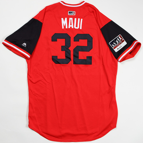 "Photo of Matt ""Maui"" Wieters Washington Nationals Game-Used Jersey 2018 Players' Weekend Jersey"